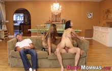 Riding teen and milf gobble huge shlong