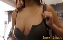Slutty babe tugs gloryhole cock
