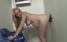Preggo blonde takes a BBC through a gloryhole